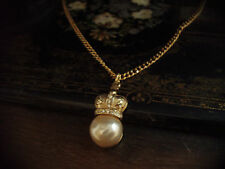 Vintage Gold Crown with Cream Pearl and Crystals Necklace Pendant