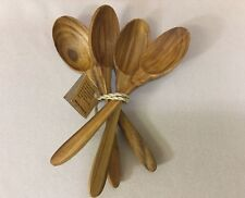 "Teak Wood Spoons 5 1/2"" ~ Set Of 4"