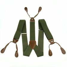 Pickle Green Men's Adjustable Elastic Button Holes Suspenders Solid Braces BD703