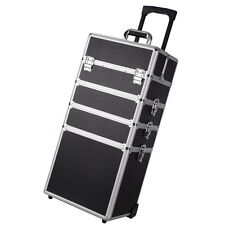 4 in 1 Pro Aluminum Rolling Makeup Case Salon Cosmetic Organizer Trolley Black