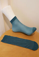 Turquoise Glitter Shimmer Socks Girls Ladies Dance Sheer Trainer Quarter 2-8 UK