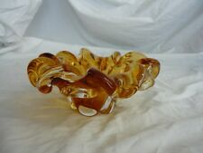 "CHALET ""VINTAGE"" HONEY GOLD TO CLEAR ART GLASS PIECE -  NOT SIGNED (#8236)"