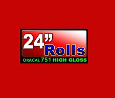 """24""""x5ft Roll Oracal 751 CAST Gloss RED High Performance adhesive backed VINYL"""