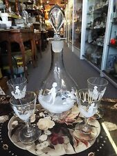 19th CENTURY VICTORIAN MARY GREGORY LIQUOR DECANTER & 4 GLASSES SET NR Drinking