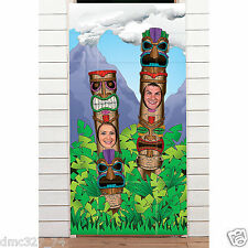 LUAU Tiki Beach Party TOTEM POLE COUPLE Photo Photograph Prop Door Banner