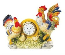 NEW FITZ & FLOYD RICAMO COLLECTION ROOSTER CLOCK