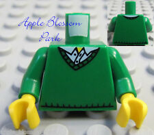 NEW Lego City Girl/Boy Minifig GREEN TORSO w/V-Neck Sweater & Blue Shirt Pattern