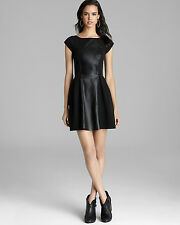 Plenty by Tracy Reese Black Dress w/ Lamb Leather Contrast Panel, Sz 0 2, NWT !