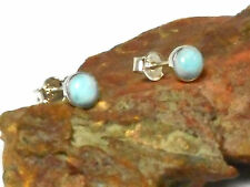 LARIMAR   Sterling  Silver    925  Gemstone  Earrings / STUDS   -  6 mm