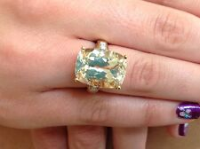 WOW! LARGE 20ct LEMON TOPAZ & DIAMONDs 9ct GOLD DRESS COCKTAIL RING EXCELCOND