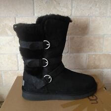 Ugg Becket Black Water-resistant Leather / Sheepskin Buckle Boots US 7 Womens