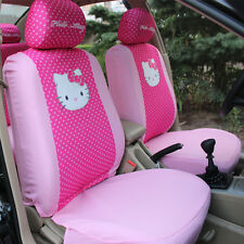 1set/10pcs Hello Kitty Head Comfortable Rose Car Seat Covers Car Accessories