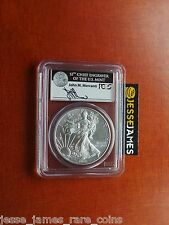 2012 W BURNISHED SILVER EAGLE PCGS MS69 FIRST STRIKE RARE MERCANTI SIGNED LABEL!