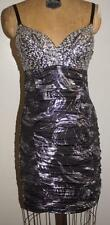 NEW Black Silver Sequins Mini Dress Strapless Size XSmall Prom Party NWOT