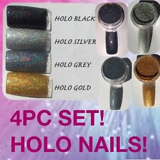 4PC SET (SILVER - BLACK - GOLD - GREY) HOLO MERMAID EFFECT NAIL ART POWDER