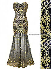 SALE! ALL SIZES ! Gold Evening Dress Transparent Sequin Prom Sexy Formal Gown