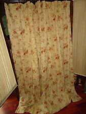 WAVERLY CUSTOM ANTIQUE GOLD RED FLORAL FABRIC SHOWER CURTAIN RED CREAM 78 X 74