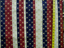 PATRIOTIC STARS ON STRIPES GLITTER PATTY REED 100% COTTON FABRIC BY THE 1/2 YARD