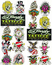 12 Ed Hardy Classic Designs Skulls Wolf Celebrity Art Temporary Tattoos Set Lot