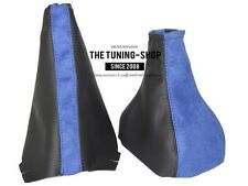 FOR OPEL VAUXHALL CORSA C BLACK LEATHER / BLUE SUEDE GEAR STICK GAITER HANDBRAKE