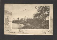 POSTCARD from the BOARD OF TRADE, HAINES CITY, FLORIDA - HUNTING SCENE w/ GEESE