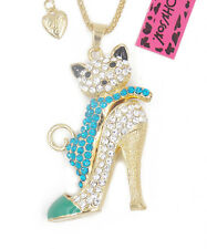 Betsey Johnson shiny exquisite high heels catn crystal necklace #A034