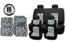 Cool Breeze Mesh Seat Covers Black & White Zebra Accent with Floor Mats CS