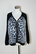Womens New Wild Orchid Black Animal Print Zip Front Jacket Cardigan - Size 6 NWT