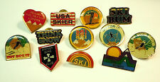 VINTAGE SKI PINS Assorted Set of 12 Pins from 1980 New Dead Stock