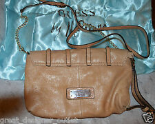 NWT $175 GUESS by Marciano Dane Pebbled Leather Handbag Small Purse Beige BAG