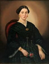 American School 19th Century Portrait of a Lady in a Green and Black ... Lot 134