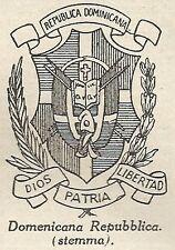 A4852 Stemma della Repubblica Dominicana - Stampa Antica del 1953