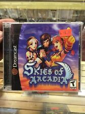 Skies of Arcadia (Sega Dreamcast, 2000) COMPLETE Tested WORKS RARE 2-discs +Book