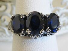 Sapphire Sterling Silver Filigree 3 Stone Ring Antique Vintage Victorian SZ 9