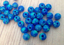LOT 4mm Round Loose Dark Blue Fire Opal beads Lab Gemstone Spacer 10 pcs BULK