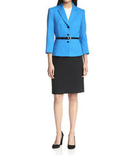 [12 30] Tahari By ASL Womens Blue Black Textured Belted Skirt Suit Set Size: 12