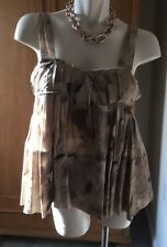 MARNI Cotton Raw Edge Pleated Taupe/Brown A-Line Top Size 46 Or Medium