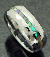 8mm Tungsten carbide w/ abalone shell inlay weavy edge men's band ring Sz 12