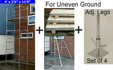 "DIY Scaffold Tower 5.2m (4' x 2'6"" 17' WH) + Boards 2 Stabilisers & Adj. Legs"