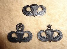 US ARMY,USAF,PARACHUTIST BADGE SET OF 3, SUBDUED, METAL,LARGE