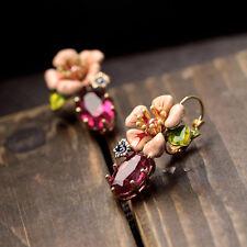 Boucles d`Oreilles Email Dormeuse Fleur Rose Feuille Vert Retro Doré L1