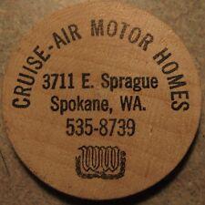 Vintage Cruise-Air Motor Homes Spokane, WA Wooden Nickel - Token Washington