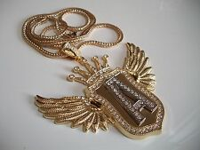 Exclusive Hip hop bling gold finish Crown,Wings and Silver A pendant with chain