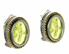 Menegatti Solid 925 Sterling Silver and 18K Gold Earrings '