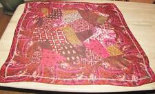 Square scarf; abstract SILK Cynthia Rowley; pink white plum coral 36 x 35.5 in.