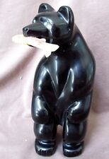 Zuni Museum Quality HUGE Black Marble Bear & Fish Fetish by Vern Nieto C0396