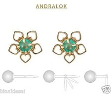 9ct Gold Andralok 8mm Heart Petal Flower 3.5mm Round Emerald Studs Earrings BOX
