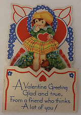 VINTAGE VALENTINE'S DAY TO MY DEAR ONE LITTLE GIRL FOLD OUT GREETING CARD - USA