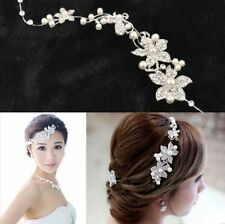 Nice Silver Wedding Bridal Flower Rhinestone Crystal Pearls Headband Hair Clip