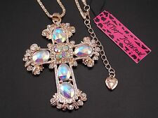 Betsey Johnson fashion inlaid crystal cross pendant necklace # F318A